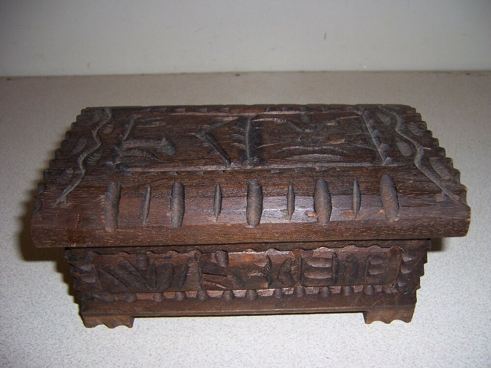 Vtg Carved Wood Jewelry Box African Hawaiian Tiki God