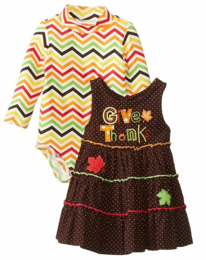Bonnie jean baby girls holiday thanksgiving fall jumper dress set 3 6
