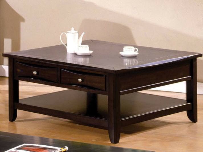 New Baldwin Dark Espresso Finish Wood Square Coffee Table W Drawers Ebay
