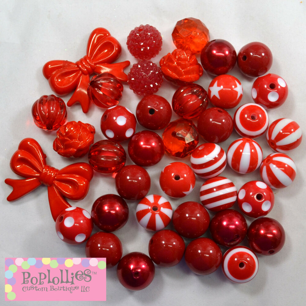 20mm Bead Beads: 20mm Bubblegum Beads 40 RED Lot Beads Chunky Jewelry