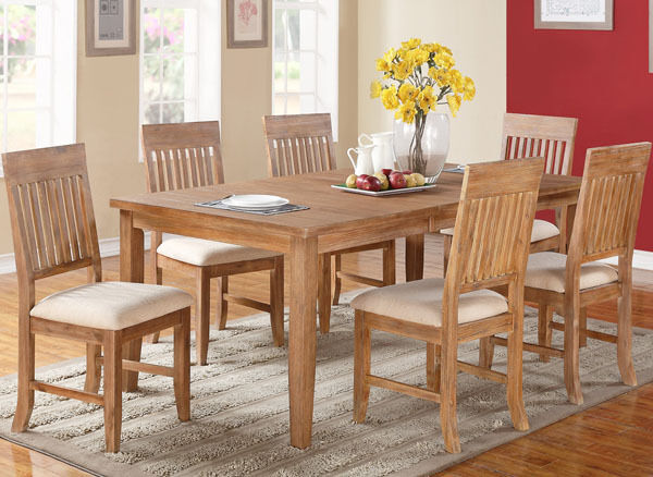 whistler distressed natural finish birch wood dining table set ebay