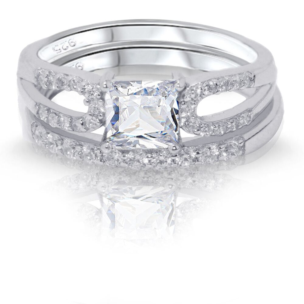princess cut white sapphire engagement wedding sterling