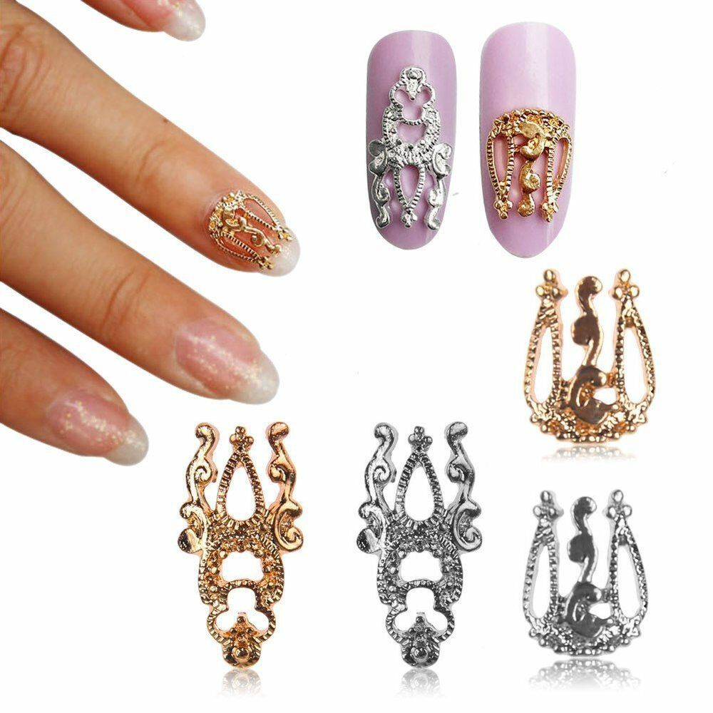 Hot 10pcs 3d diy alloy gold silver hollow out nail art for 3d nail art decoration