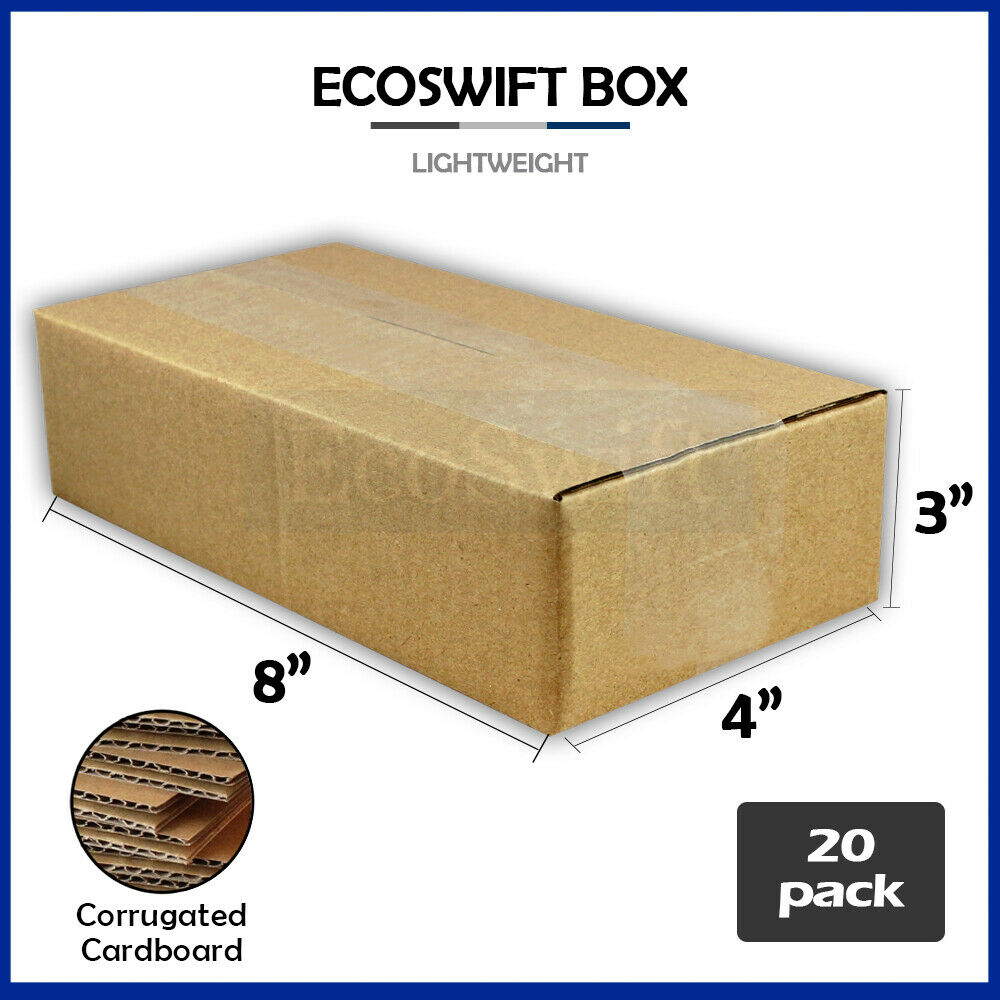 20 8x4x3 cardboard packing mailing moving shipping boxes. Black Bedroom Furniture Sets. Home Design Ideas