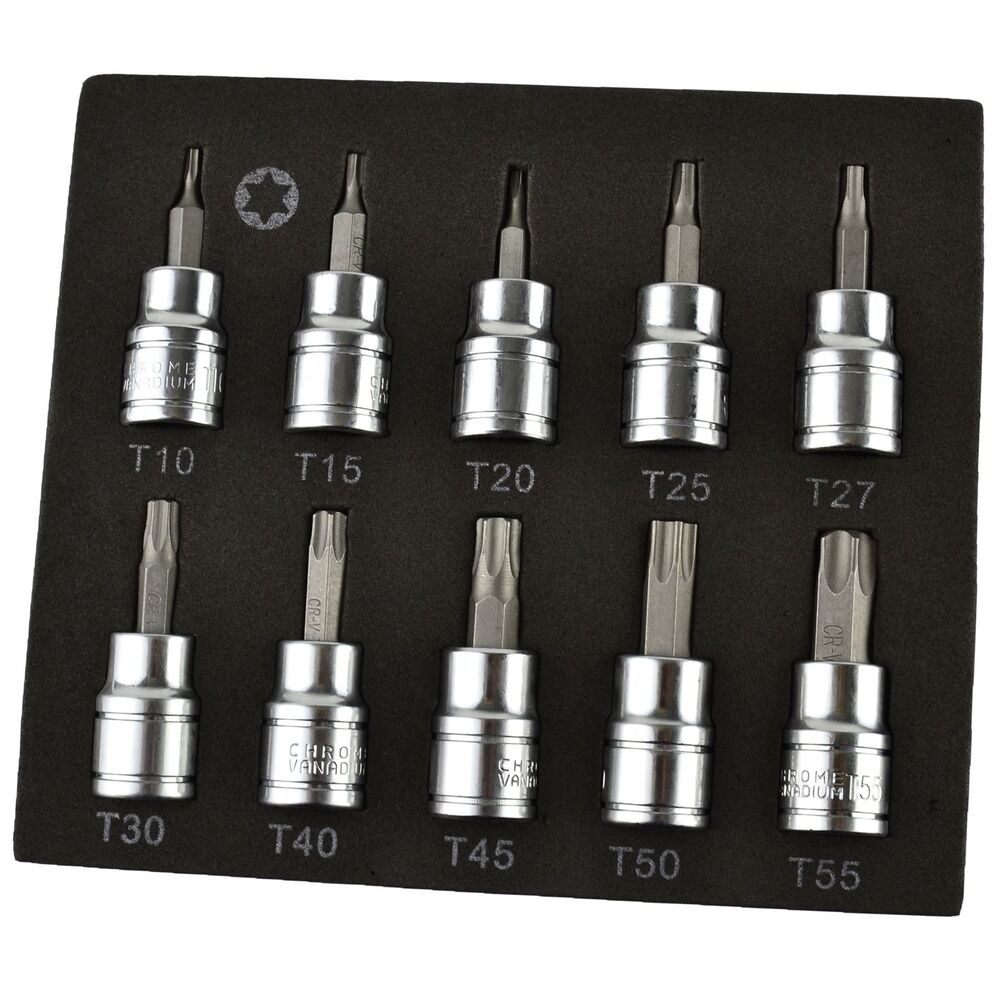 torx star bit sockets t10 t55 3 8 drive 10pcs shallow. Black Bedroom Furniture Sets. Home Design Ideas