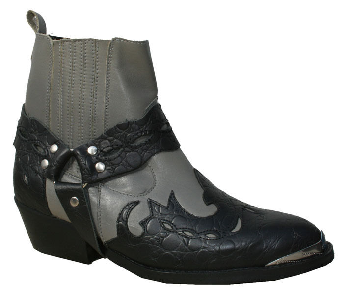 Mens New Genuine Leather Ankle Cowboy Harness Boots Grey