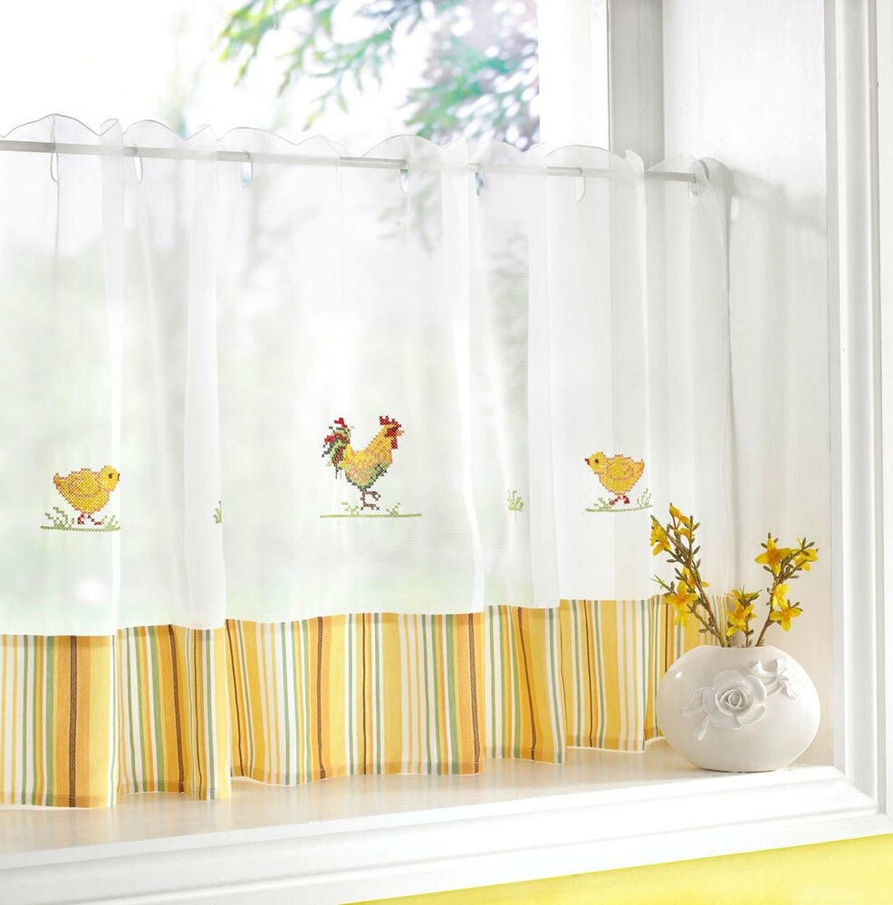 yellow kitchen curtains rooster duck cafe net panel embroidered white yellow 28720