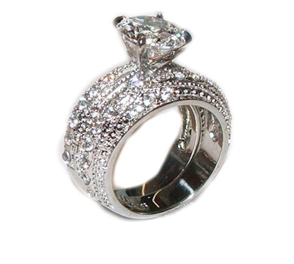 Cubic Zirconia Set Bands: 3.20 Ct Cubic Zirconia Cz Wedding Band Ring Set Stainless