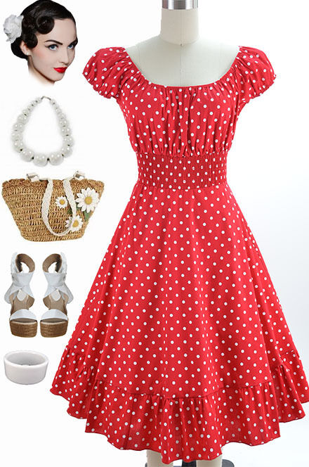 50s Style Red & White POLKA Dot PLUS SIZE Peasant Top On ...