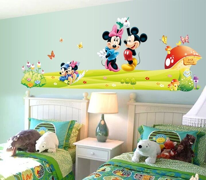 Cute Mickey Minnie Mouse Wall Sticker Vinyl Decal Mural Kids Baby Room Decor Ebay