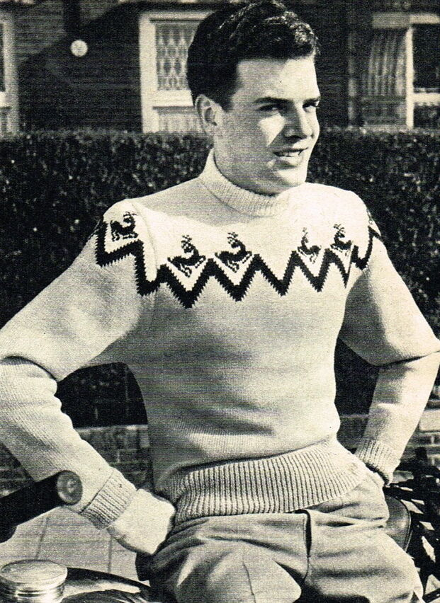 Vintage Christmas Jumper Knitting Pattern : Vintage knitting pattern-make a mens christmas reindeer jumper 4 ply eBay