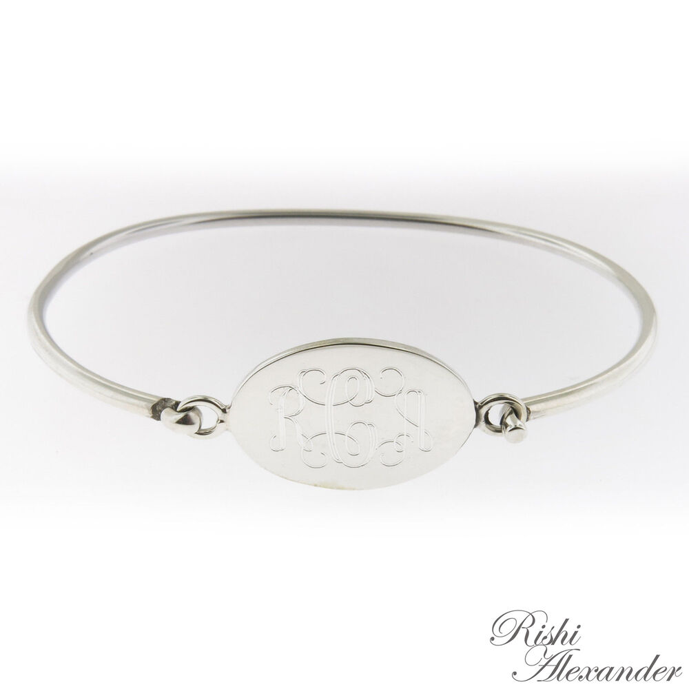 monogrammed 925 sterling silver hinged oval cuff bracelet