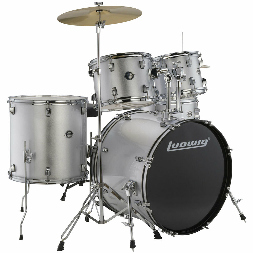 new ludwig lc170 accent fuse 5 piece complete drum set w cymbals more silver ebay. Black Bedroom Furniture Sets. Home Design Ideas