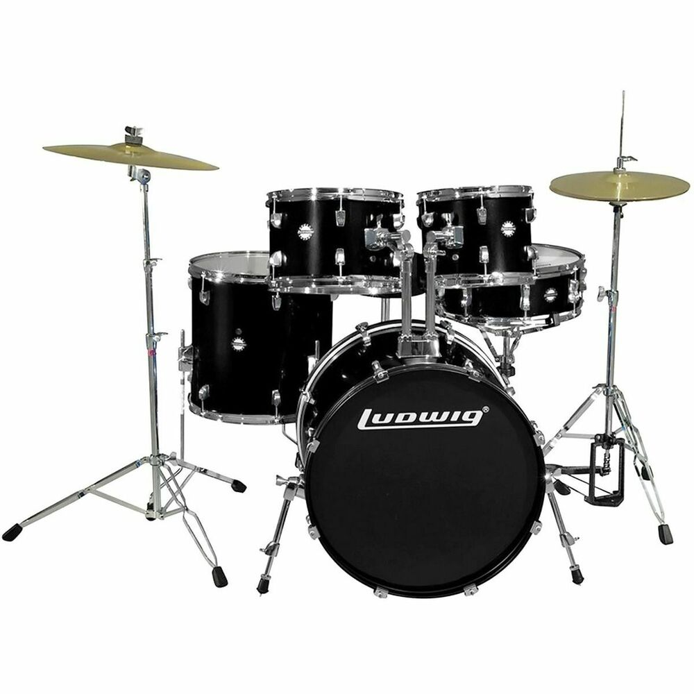 new ludwig lc175 accent drive 5 piece complete drum set w cymbals more black ebay. Black Bedroom Furniture Sets. Home Design Ideas