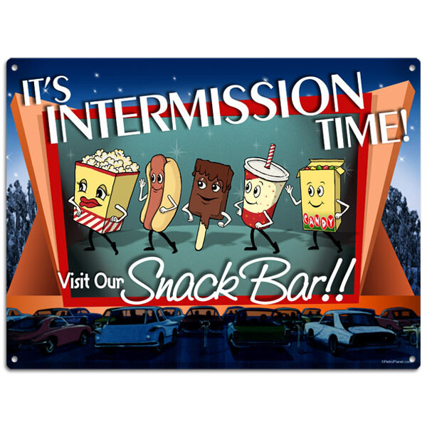 Theater Room Snack Bar: Intermission Time Visit Our Snack Bar Metal Sign Dancing