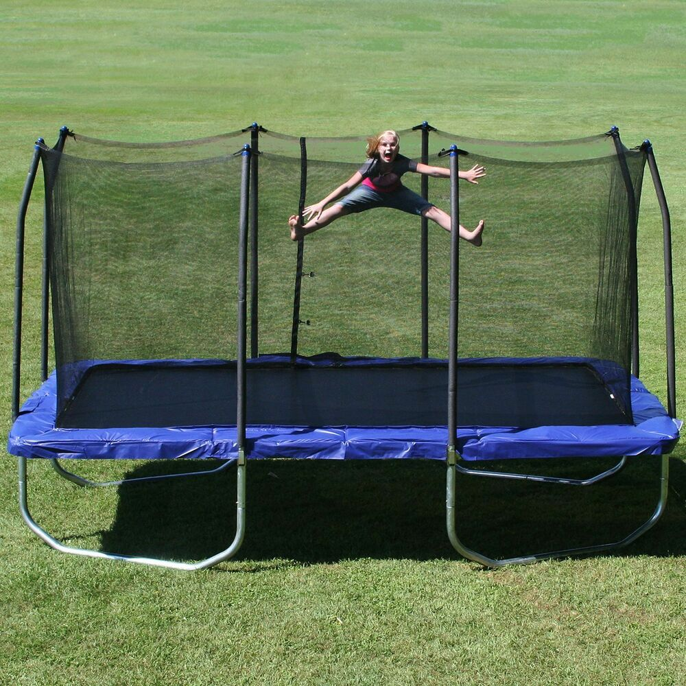 Kidwise Jumpfree 15 Ft Trampoline And Safety Enclosure: Skywalker Outdoor New Platinum 15' Rectangle Trampoline