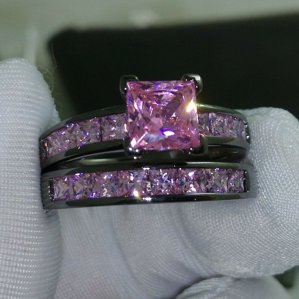 Sz 5 10 Princess Cut Pink sapphire 10kt black Gold Filled Wedding Ring set gi