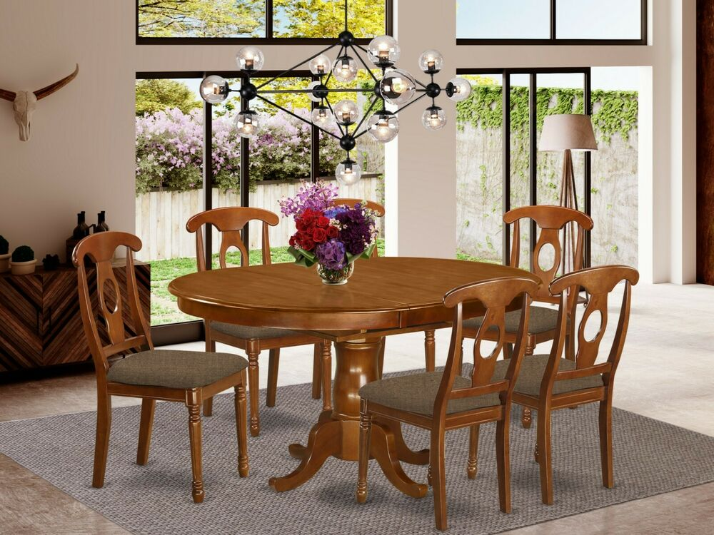 7 pc set oval kitchen table with 6 padded seat chairs for Kitchen table set 6 chairs