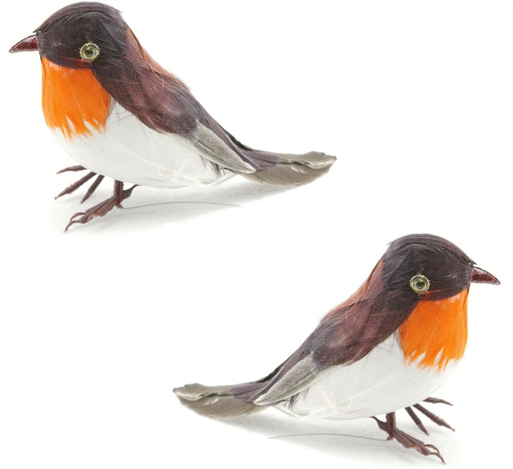 2 artificial xmas feather bird wired robin tree decoration for Artificial birds for decoration