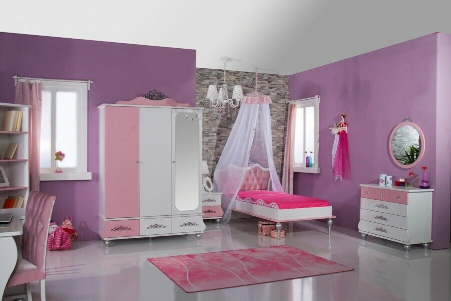 kinderzimmer anastasia rosa 5 teilig kinderzimmerset prinzessin m dchenzimmer ebay. Black Bedroom Furniture Sets. Home Design Ideas