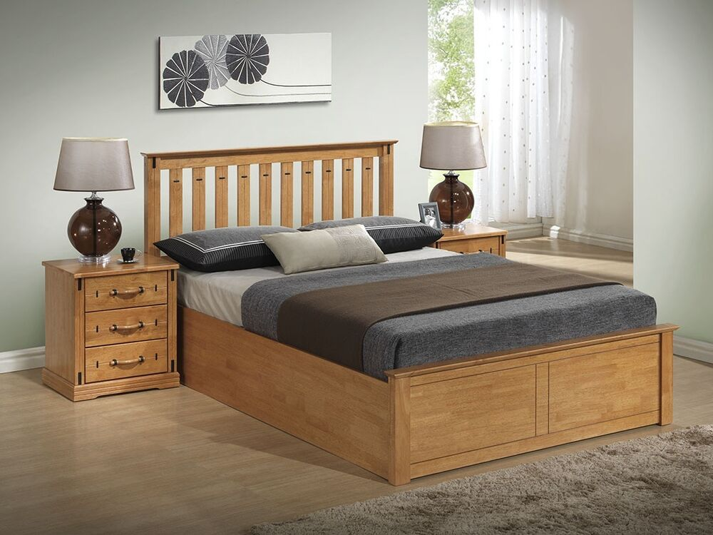 Wooden Beds With Storage ~ Stanley solid wooden ottoman storage bed frame ft