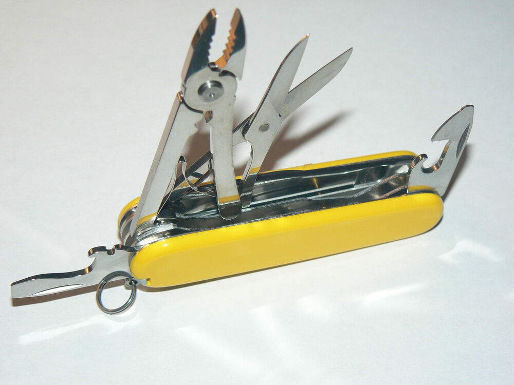 New Victorinox Swiss Army 91mm Knife Yellow Deluxe Tinker