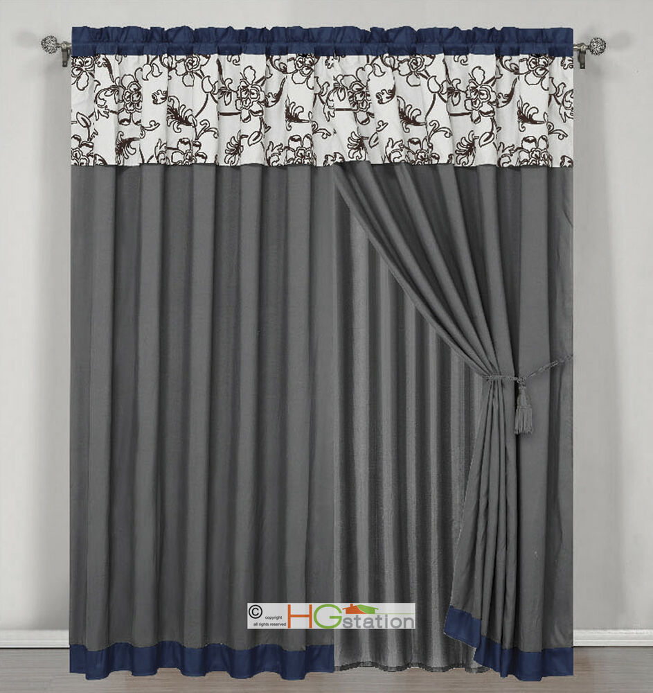 4 stripe oasis floral garden curtain set blue gray brown off white valance drape ebay