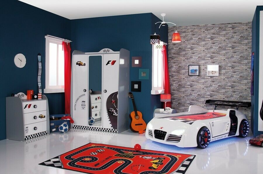 kinderzimmer turbo autobett v8 4 teilig 4er set kinder m bel auto bett neu ebay. Black Bedroom Furniture Sets. Home Design Ideas