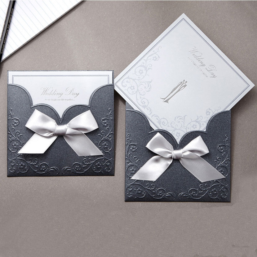 Custom periwinkle ribbon pocket wedding invitations env for Ebay navy wedding invitations