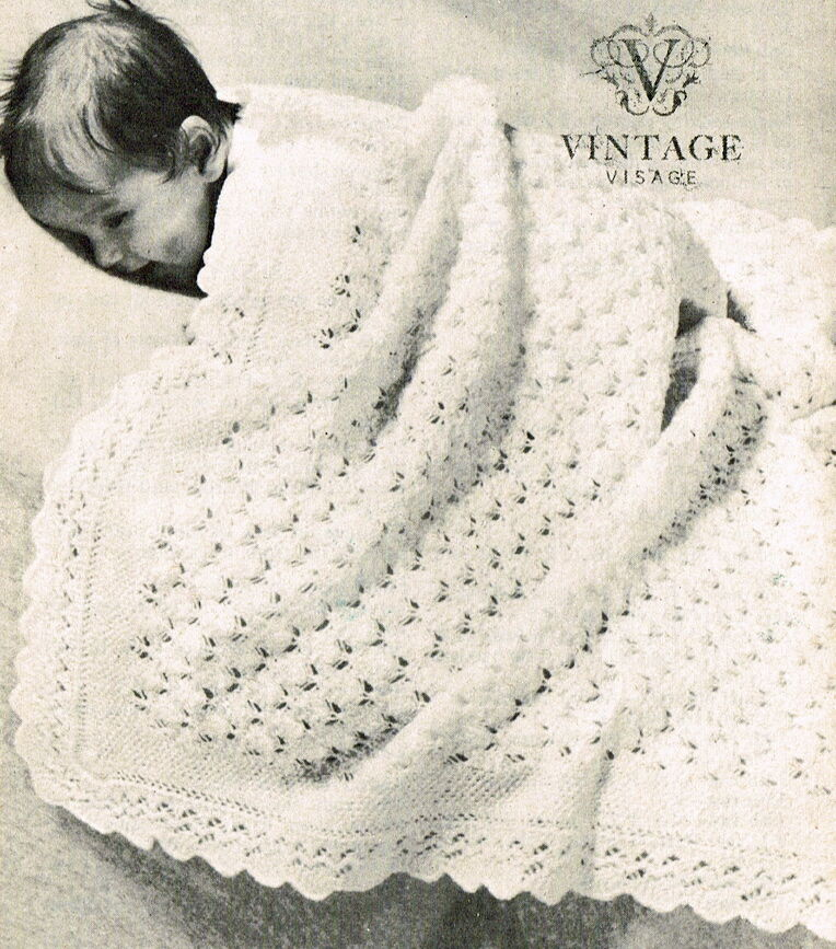 Vintage knitting pattern-how to make a pretty lace baby christening shawl eBay