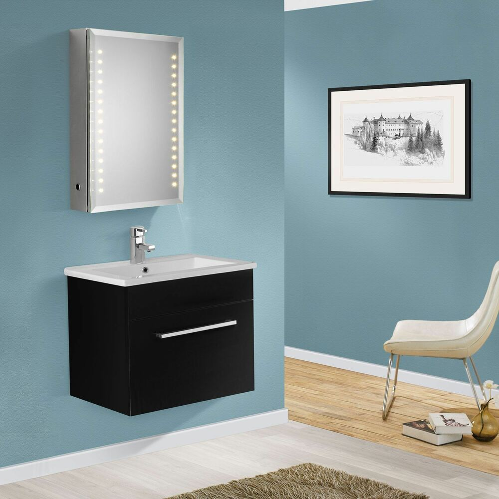 550mm wall hung mdf black gloss bathroom basin sink cabinet vanity unit ebay - Bathroom cabinets black gloss ...