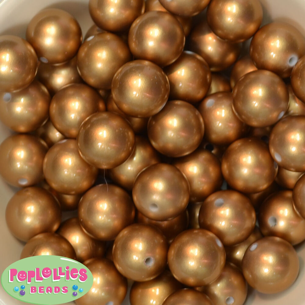 20mm Bead Beads: 20mm Bubblegum 20 Matte Gold Pearl Beads Chunky Jewelry