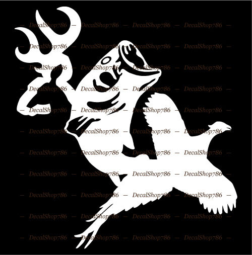 Deer fish pheasant outdoor hunting fishing vinyl die for Hunting and fishing decals
