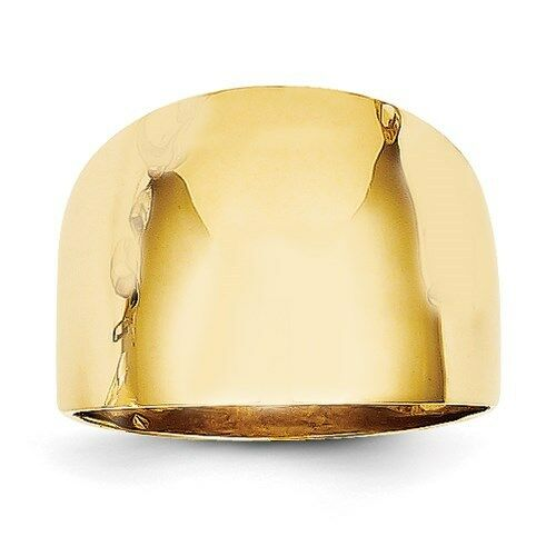 14k Gold Ring 15mm 14k Yellow Gold Wide Dome Cigar Band