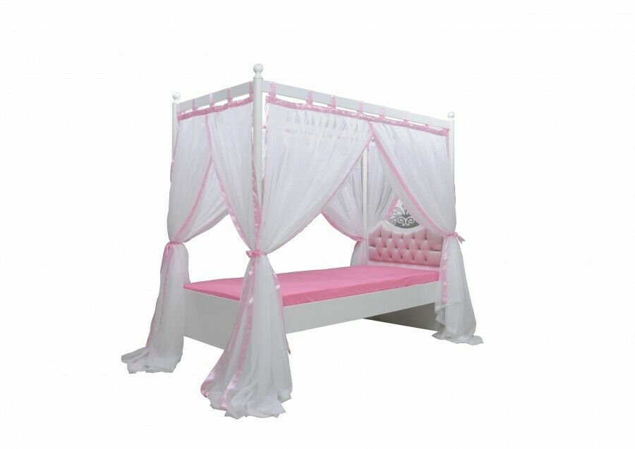 himmelbett anastasia rosa m dchen prinzessin kinderzimmer kinderbett 90x200 cm ebay. Black Bedroom Furniture Sets. Home Design Ideas