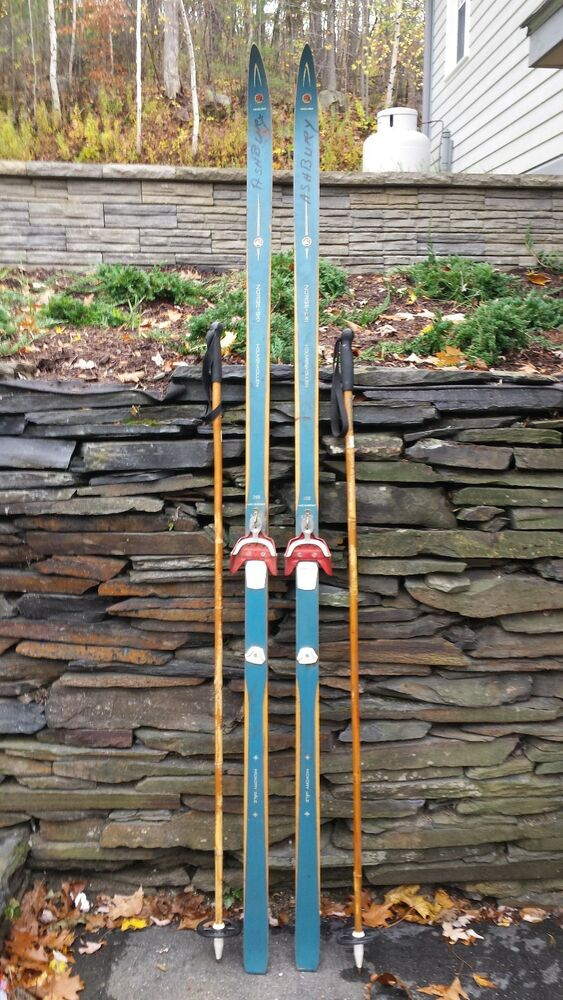 Vintage hickory wooden quot skis has green finish