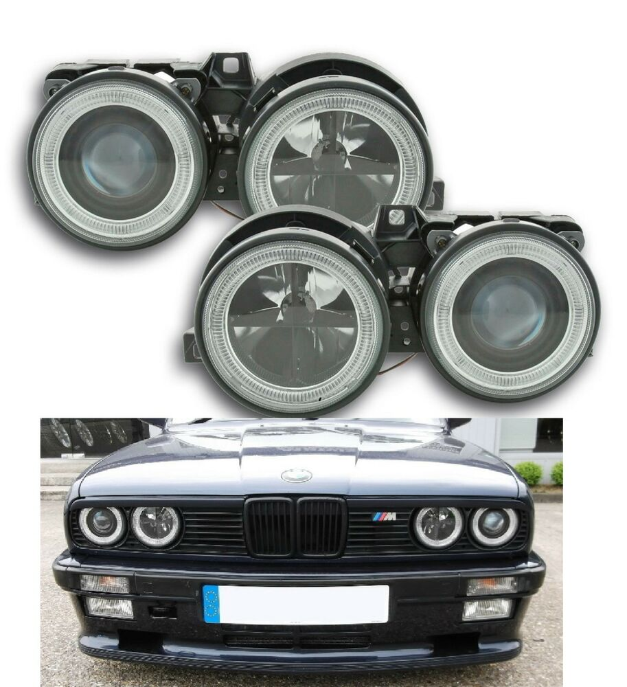 angel eyes scheinwerfer schwarz f r bmw 3 er reihe e30. Black Bedroom Furniture Sets. Home Design Ideas