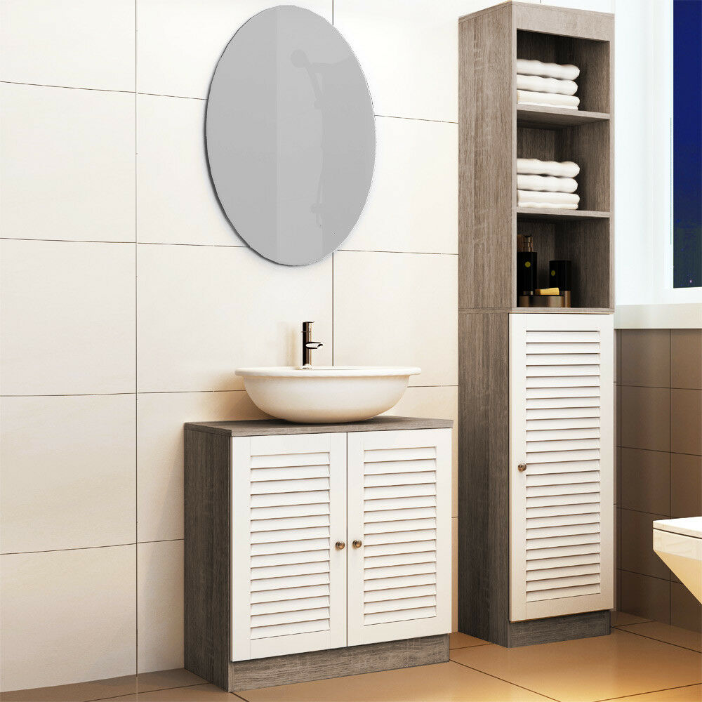 Bathroom Cabinet With 6 Shelves And Door Tall Cupboard