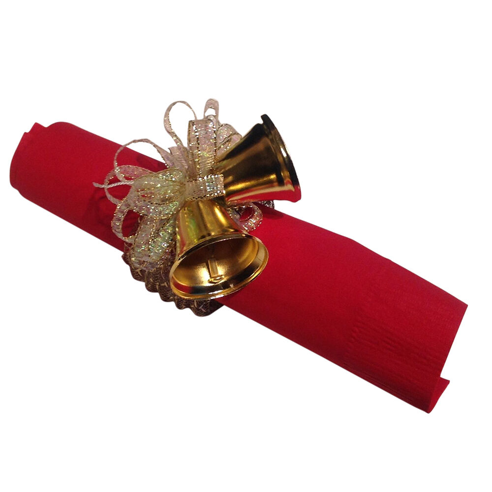 8 Napkin Rings Gold Metal Clinking Bells With Gold Ribbon