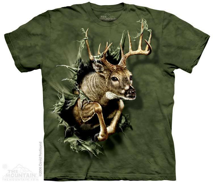 The mountain deer breakthrough 3d antlers running wild for Animal tee shirts online