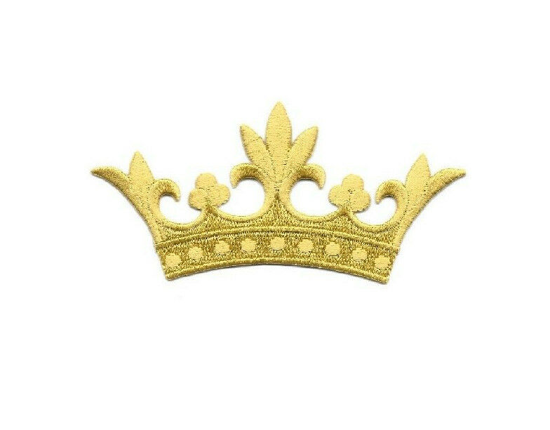 Crown w leaf points embroidered gold rayon iron on