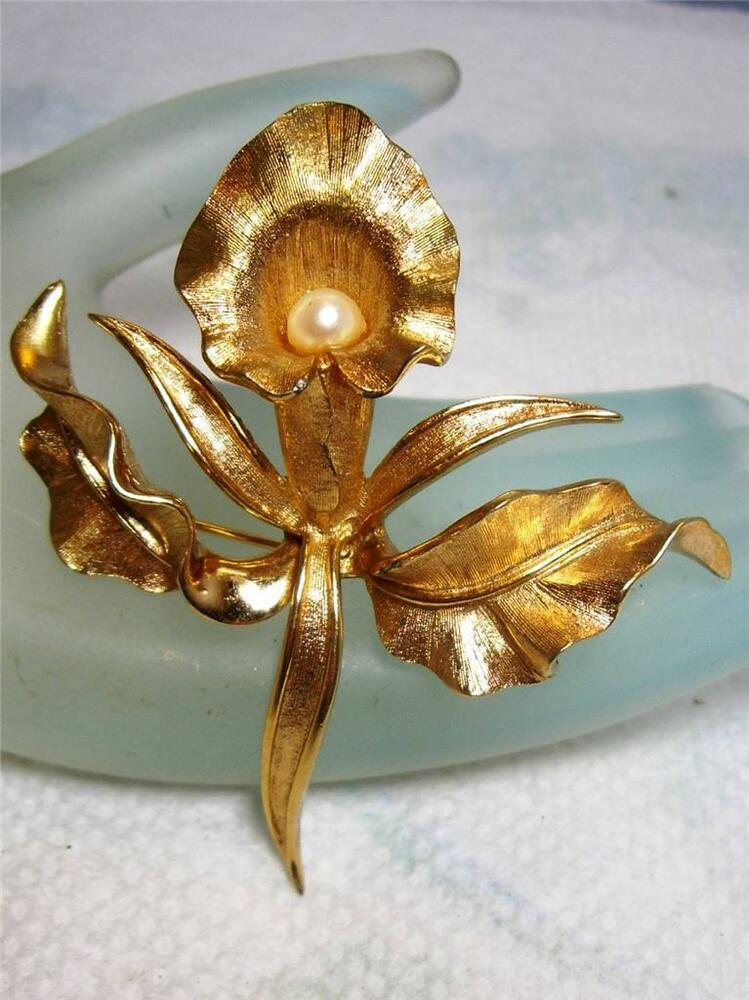 Pin By Casey Speights On Nails: Vintage Signed & Numbered BOUCHER Gold Tone IRIS Cultured