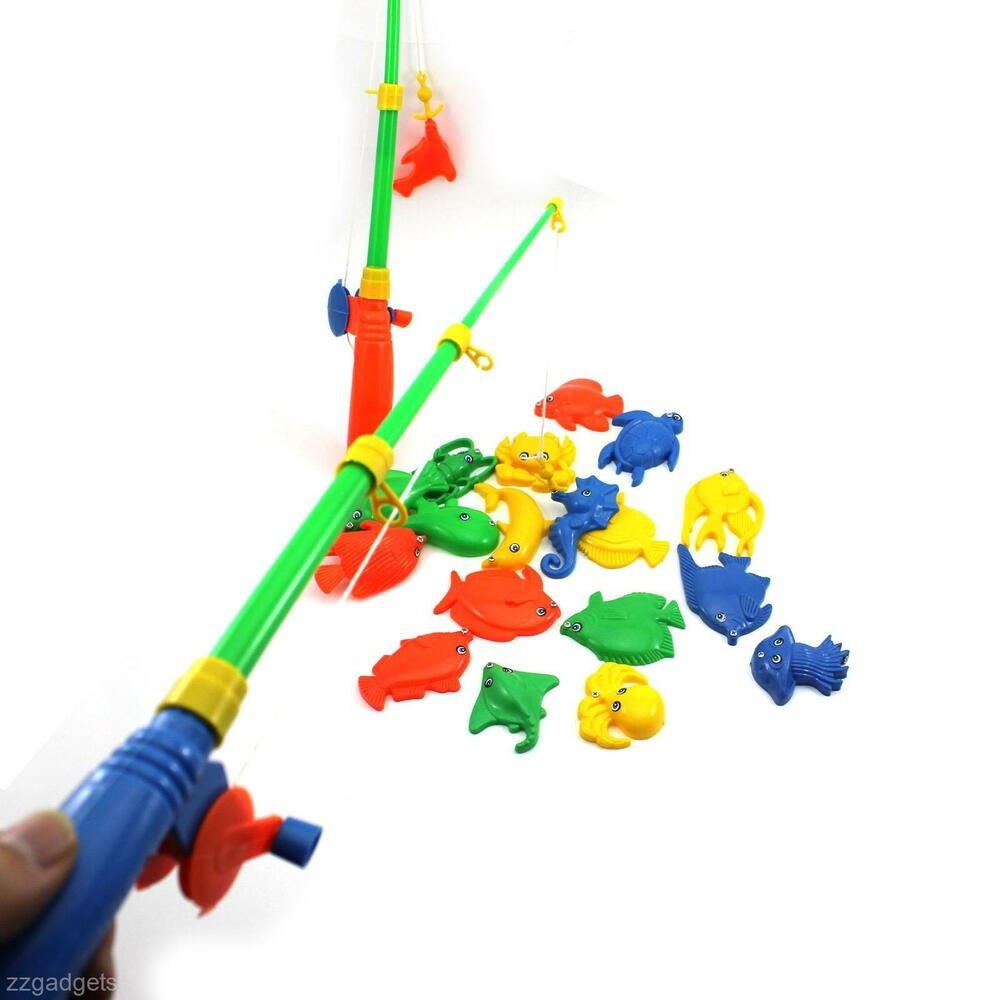 Baby kid magnetic double fishing rod 20 fish model for Kids fishing poles