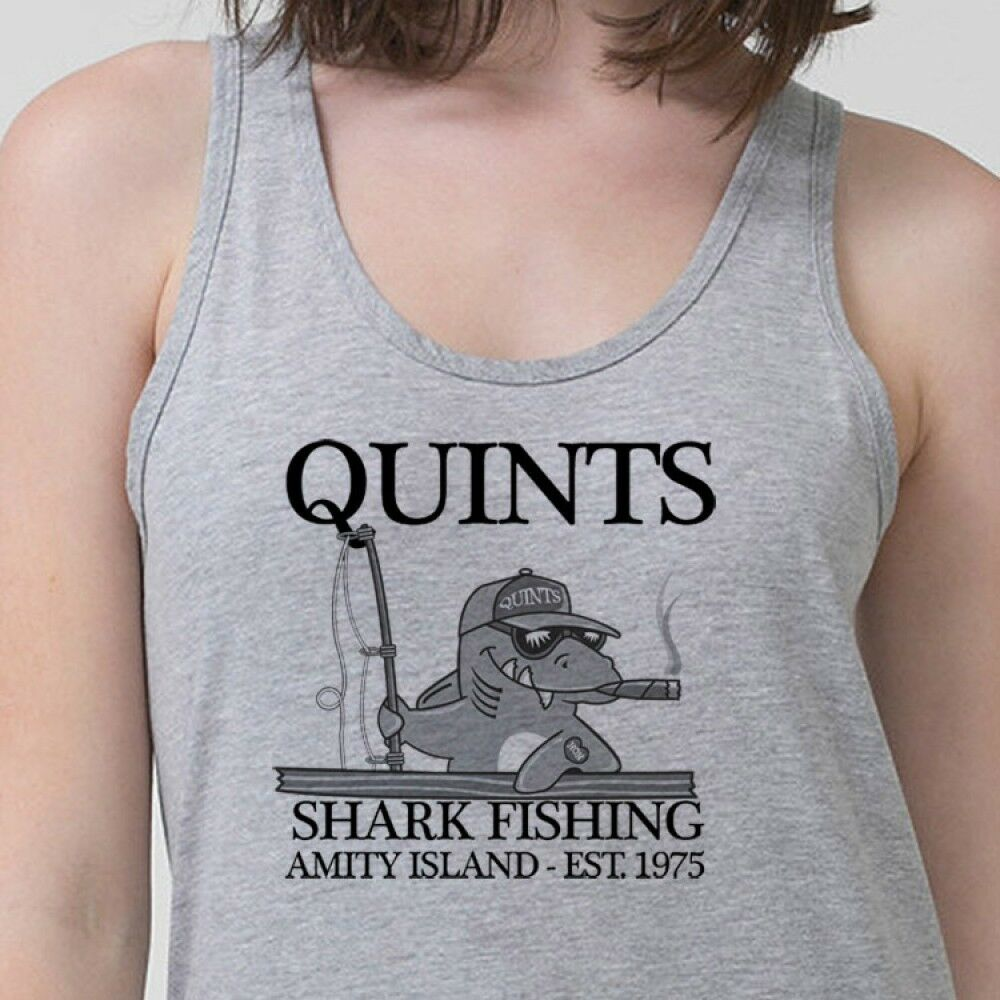 Quints fishing t shirt amity island 70 39 s jaws vintage for Fishing tank top