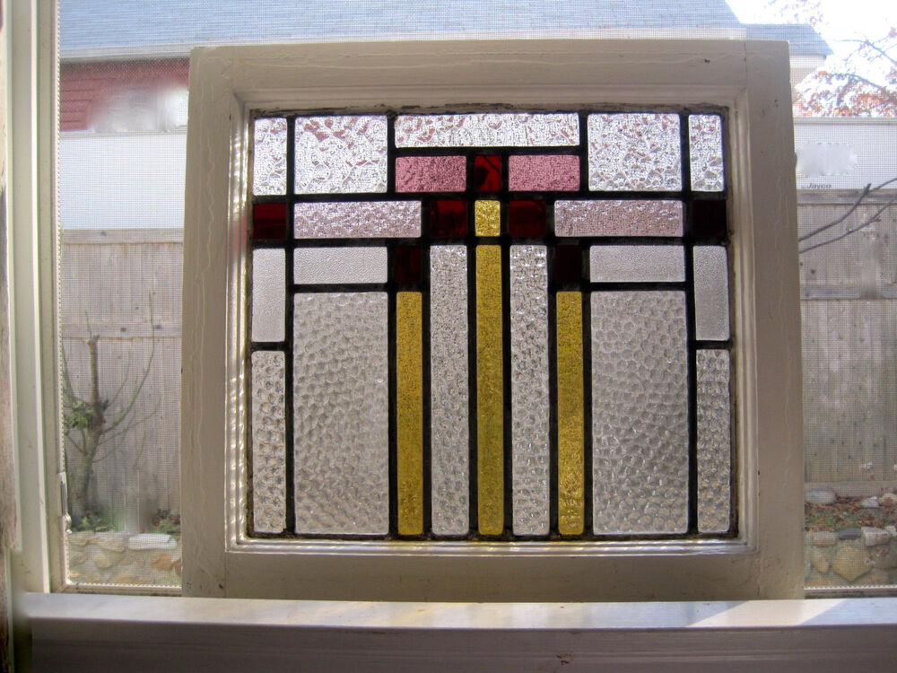 1930s art deco english stained glass sash window abstract for Art deco glass windows