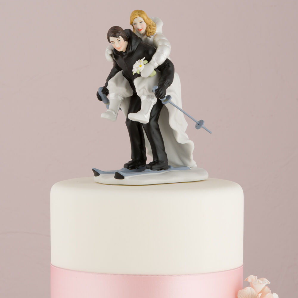 funny wedding cake figures winter skiing wedding figurine skis cake topper 14568