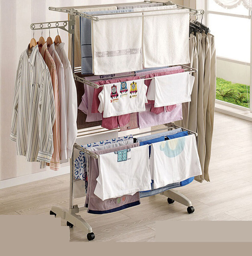 Folding 3 Layers Clothes Airers Drying Laundry Hanger Rack