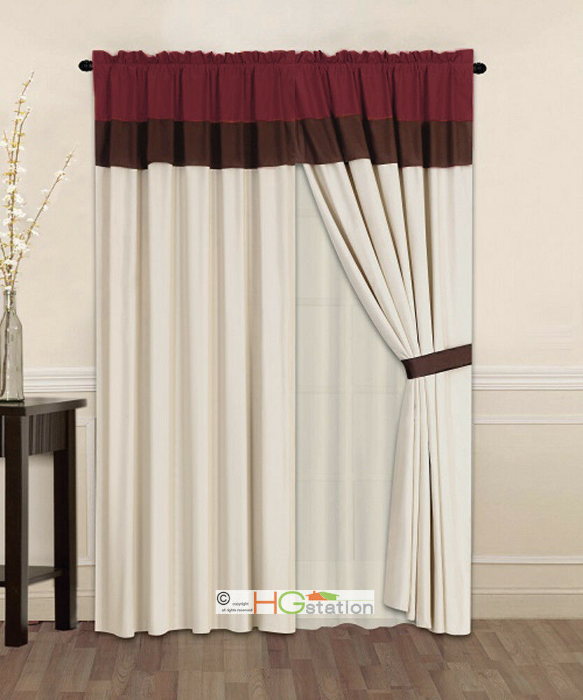 4 pc striped solid curtain set burgundy brown beige Beige curtains
