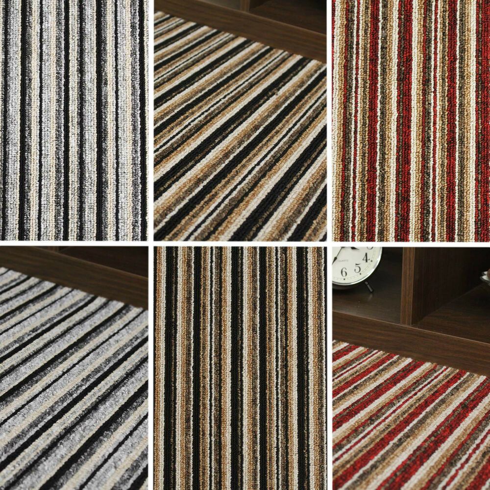QUALITY STRIPE CARPET BLACK GREY STRIPEY FELT CARPETS CHEAP ROLLS 4 METRE W