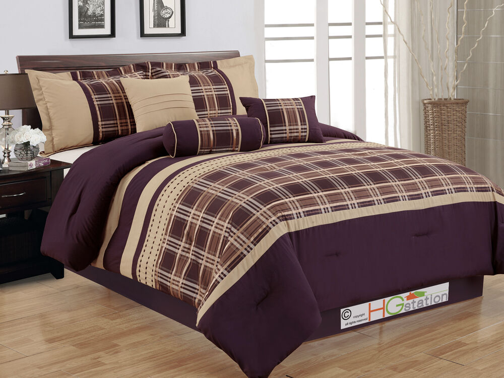 7 pc plaid striped embroidery satin comforter set coffee for Purple and taupe bedroom